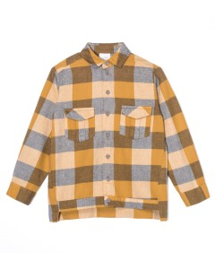 Kids On The Moon plaid shirt saffron