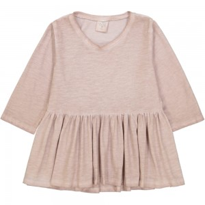 Kids On The Moon jersey frill blouse pale pink