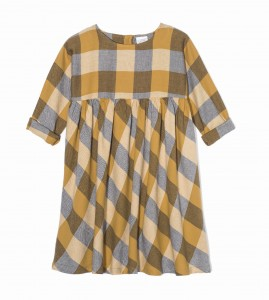 Kids On The Moon plaid dress saffron