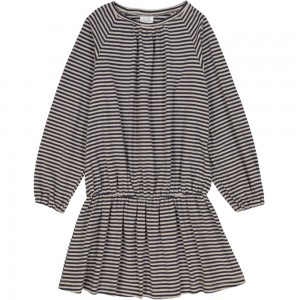 Kids On The Moon striped dress sand/dark blue