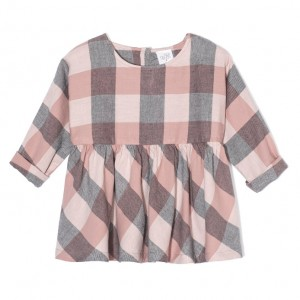 Kids On The Moon plaid blouse pink