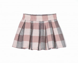 Kids On The Moon - Plaid skirt pale pink spódniczka