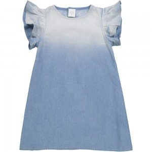 Kids On The Moon ruffle denim dress blue