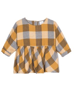 Kids On The Moon plaid blouse saffron