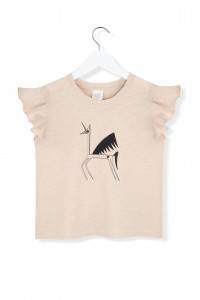 Kids On The Moon miss unicorn ruffle top beige