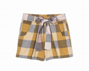 Kids On The Moon plaid shorts saffron