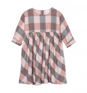 Kids On The Moon plaid dress pink